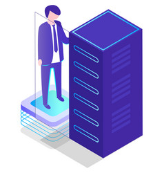 database storage information datacenter worker vector image