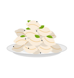Dumplings in plate isolated pelmeni in dish vector