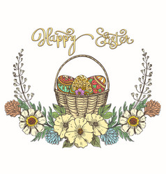 easter eggs basket vector image