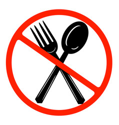 Eat sign icon cutlery symbol fork and spoon red vector
