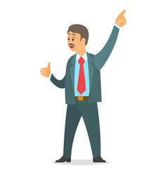 Executive businessman wearing office suit point vector