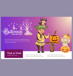 Father with kids carving hallows pumpkin poster vector