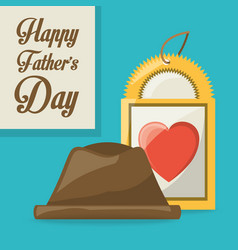 Fathes day card with hat and label design vector