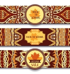 Festive autumn ornamental banner set vector