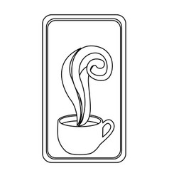 Figure long squard symbol of coffee cup vector
