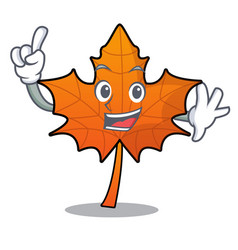 Finger red maple leaf mascot cartoon vector