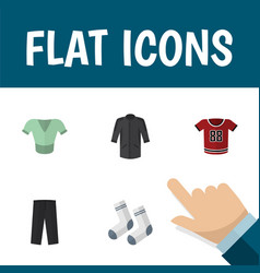 Flat icon clothes set of pants uniform t-shirt vector