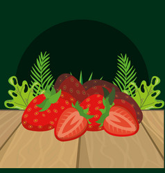 fresh fruits strawberry cartoon vector image
