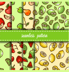 Fruit and berry seamless pattern set vector