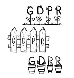 gdpr security internet doodle vector image