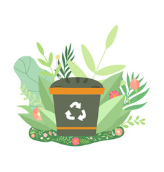 Green recycle bin surrounded grass and flowers vector