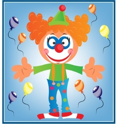 Greeting card with clown vector image