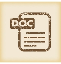 Grungy doc file icon vector