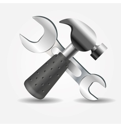 Hammer and wrench icon vector