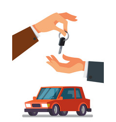 Hand giving car keys in the other hand vector