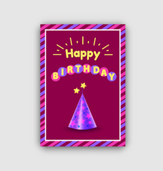 Happy birthday postcard with festive cone hat vector