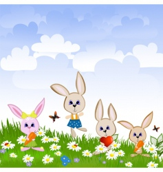 hares on the lawn vector image