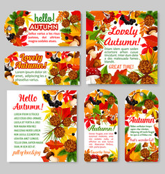 Hello autumn banner and fall season tag set vector