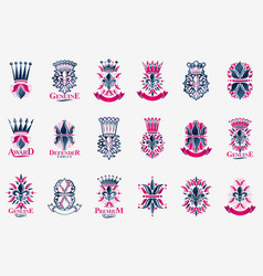 Heraldic coat arms with lily flower and crowns vector