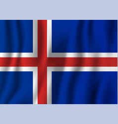 iceland realistic waving flag national country vector image