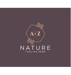 Initial az letters floral frames botanical vector