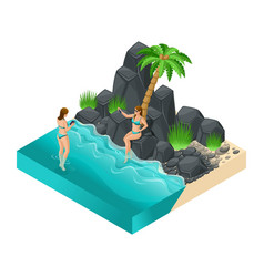 isometric girl in a bright swimsuit in beach sea vector image