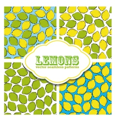 Lemon colored doodle seamless pattern vector image