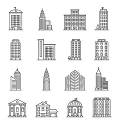line buildings modern silhouette skyscrapers vector image