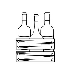 Line different wine bottles icon vector