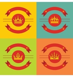 Logo crown icons on color background vector image