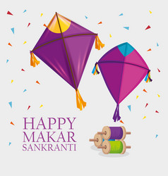 Makar sankranti religion celebration with kites vector
