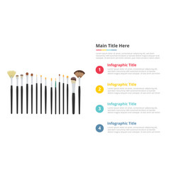 makeup brush tools infographics template with 4 vector image