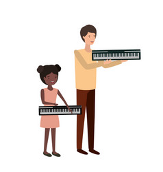 Man with daughter and piano keyboard character vector