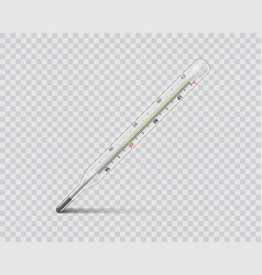 Medical mercury thermometer on transparent vector