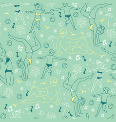 Mint green people on the beach repeat vector