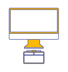 monitor computer graphic tablet design equipment vector image