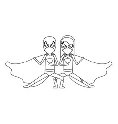 Monochrome contour faceless of duo of superheroes vector