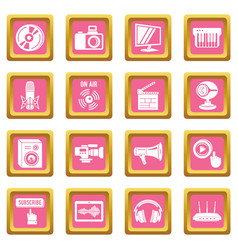 multimedia internet icons set pink square vector image