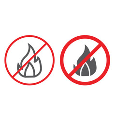 no fire line and glyph icon prohibited and vector image