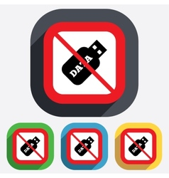 No Usb Stick sign icon Usb flash drive button vector