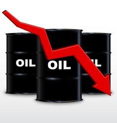 Oil barrels and red arrow chart down trend vector
