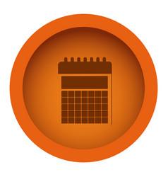 Orange circular frame with silhouette calendar vector