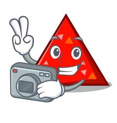 Photographer triangel mascot cartoon style vector