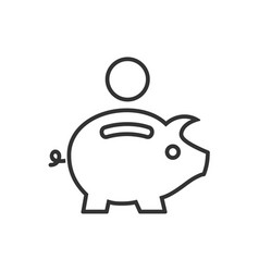 piggy bank line icon on a white background vector image
