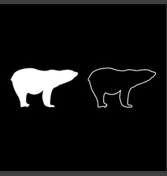 Polar bear icon set white color flat style simple vector