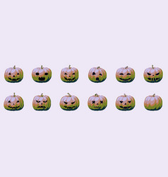 Pumpkin face icons for halloween modern kitsch vector