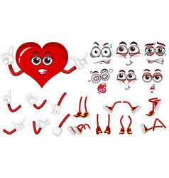 red heart with different expressions set vector image
