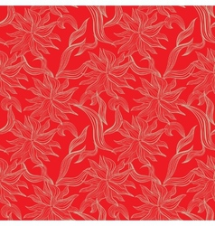 Red seamless pattern with floral ornament vector image