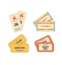 Retro double tickets set vector image