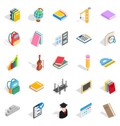 school program icons set isometric style vector image